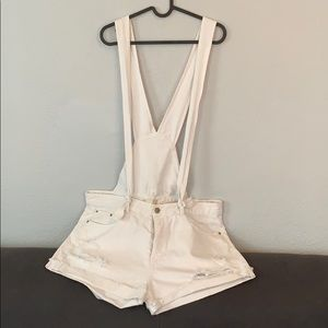 Zara short distressed overalls